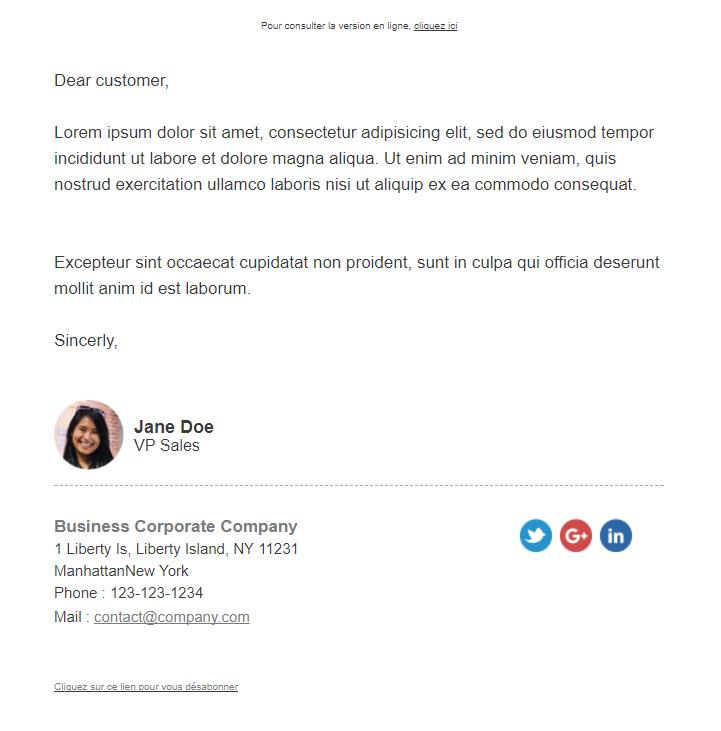 Email de relance message