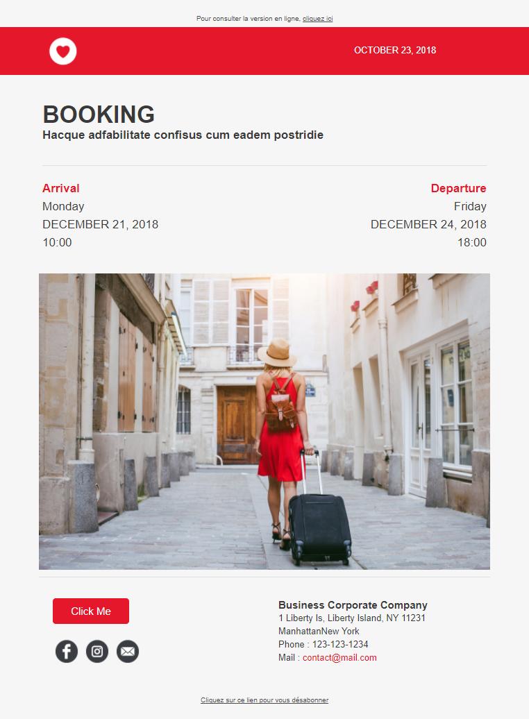 Templates Emailing Booking Sarbacane