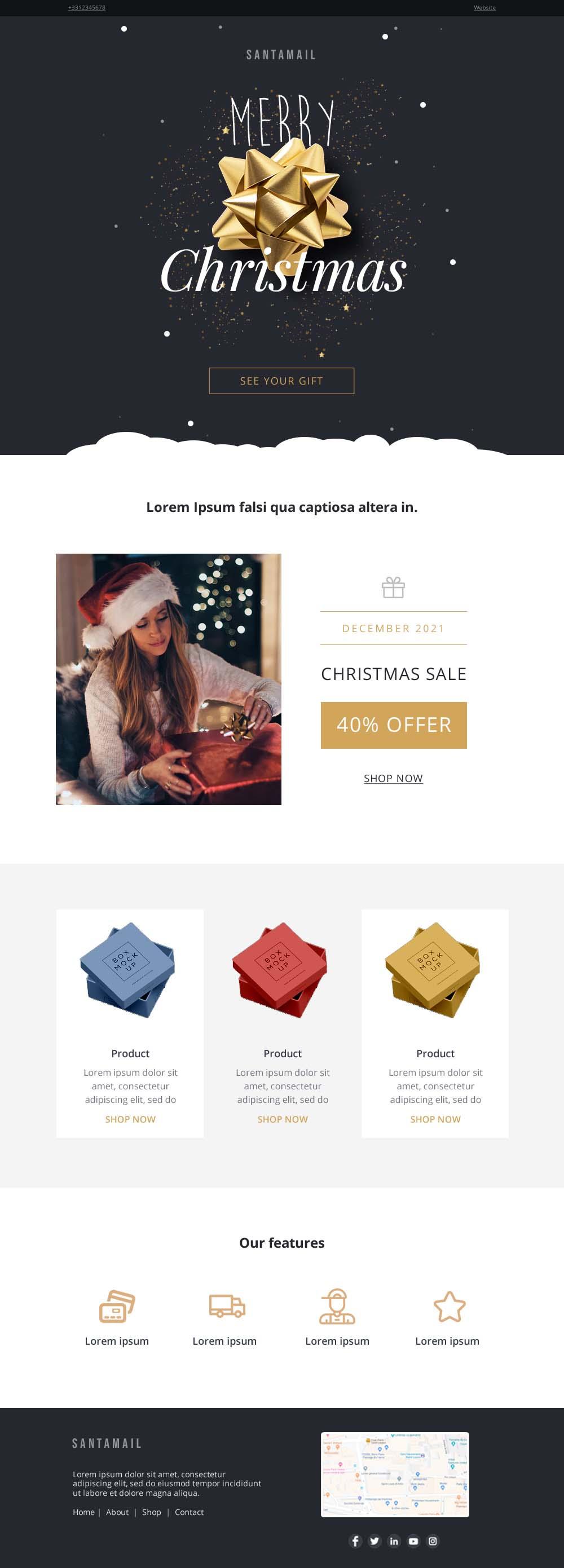 Templates Emailing SantaGift Sarbacane