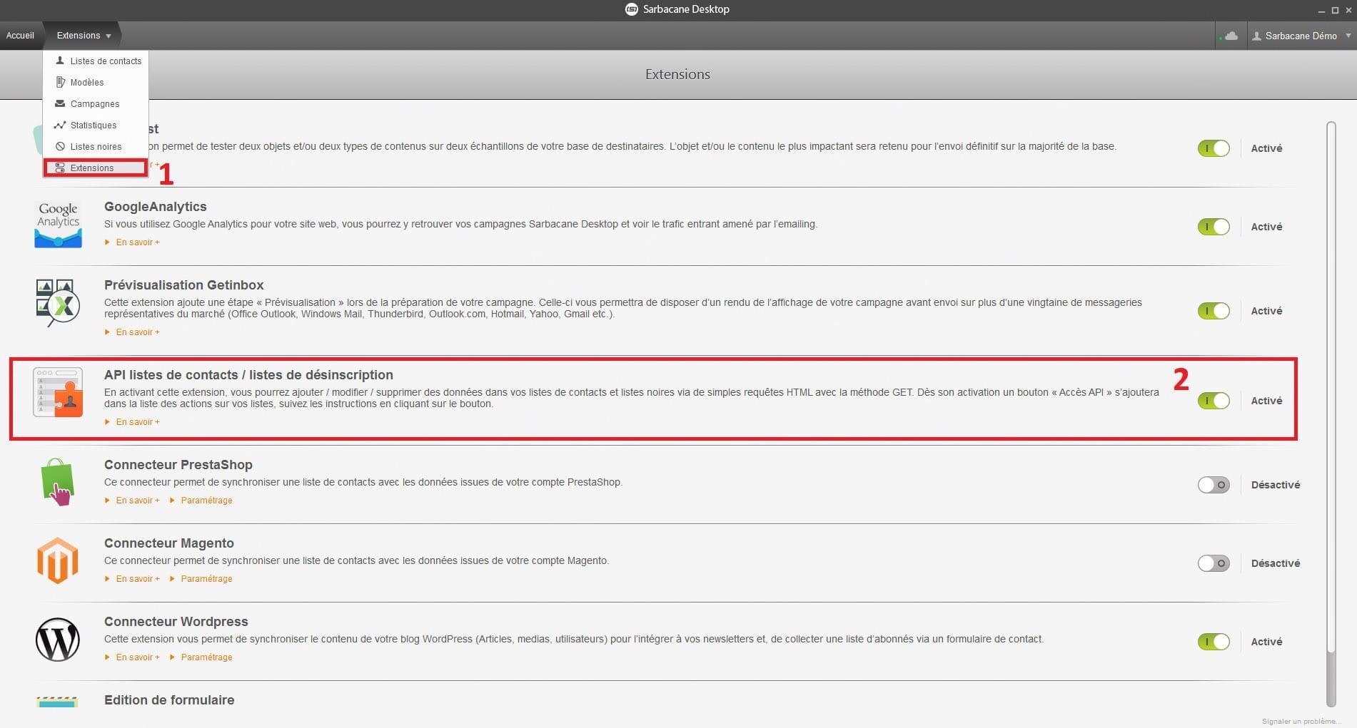 Screen Sarbacane - Activation API