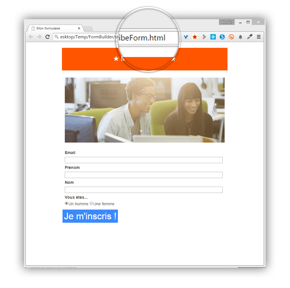 Screen Sarbacane - Editeur formulaire aperçu mobile