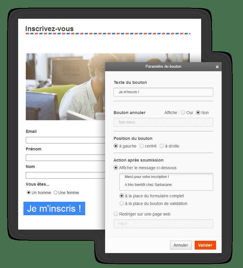 Screen Sarbacane - Editeur formulaire popin bouton
