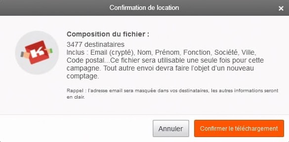 Bouton confirmation location Sarbacane