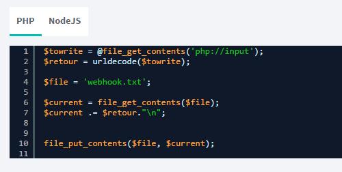 Screen Sarbacane - Webhook code