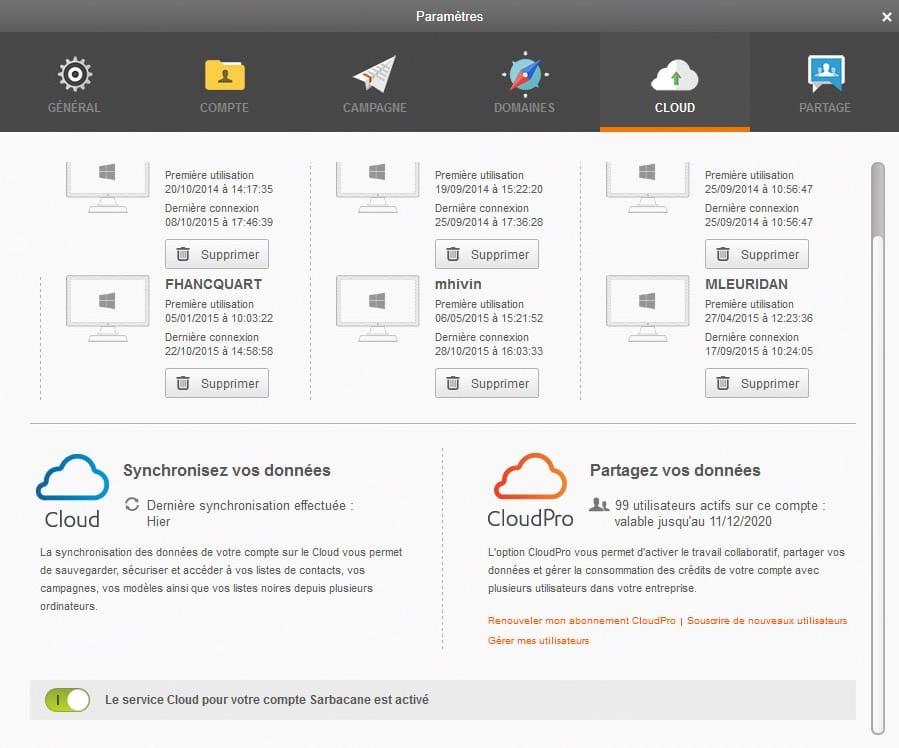 Ecran de gestion du cloud Sarbacane