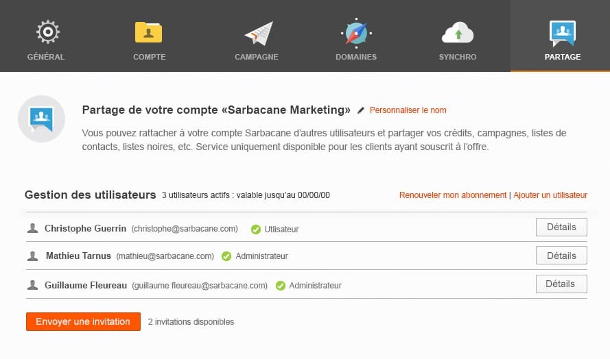 Ecran envoi invitation cloud Sarbacane